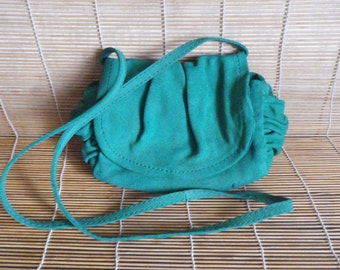 Vintage Lady's Small Size Green Suede Shoulder Strap Bag