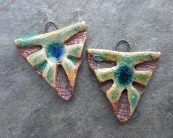Tri- handmade artisan ceramic triangle tribal earring beads matched pair aqua rustic 1883