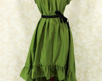 """Cap Sleeved Ragamuffin Dress in Ivy Cotton -- Size S, Fits Bust 33""""-36"""" -- Ready to Ship"""