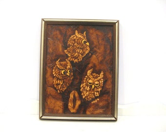 Vintage Art - Decoupage Owls on Wood - Wall Hanging - Cabin Decor