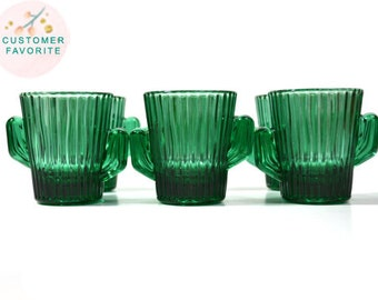 Green Cactus Cactus Shot Glass Southwestern Shot Glasses Libbey Shot Glass Green Cactus Shot Glass