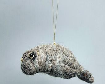 Felt manatee ornament, needle felted soft kawaii, felted sea animals, fiber sculpture, Christmas ornament, cute manatee
