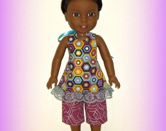 "Halter Top and Capri Pants fit 14.5"" Dolls such as Wellie Wishers from American Girl, Multicolor Geo Print Cotton in Purple, Mauve"