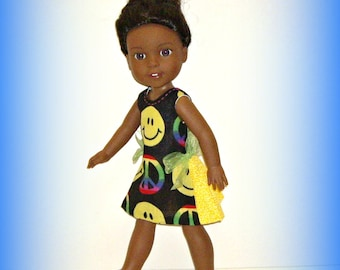 """Happy Face Peace Sign Doll Dress, Handmade by traveller240 to fit 14.5"""" Dolls such as Wellie Wishers from American Girl"""
