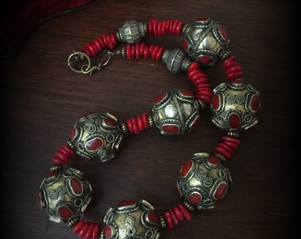Large Chunky Tribal Necklace Large Bead Necklace Red Coral Necklace with Large Metal Cloisonne Beads Large Ethnic Necklace Gypsy Jewelry Red