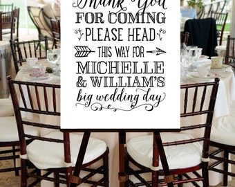 Wedding Welcome Sign, PRINTABLE FILE, Black White, Hand Drawn, Calligraphy, Script