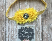 Yellow Headband, Baby Headband, Double Shabby Flower Headband, Shabby Flower Headband- Yellow Toddler Headband, shabby flowers,Yellow flower