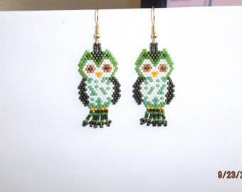 Native American Style Beaded Green Owl Earring Animal Wildlife, Cute, Boho, Peyote, Brick Stitch,  Southwestern, Light, Great Gift