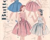 Darling Vintage 1950s Butterick 8143 Girls Full Skirted Sun Dress and Bolero Sewing Pattern Sz 14