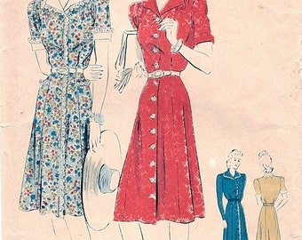 Lovely Unused Vintage 1940s Vogue 8936 WWII Style Shirt-Dress Dress in 3 Versions Sewing Pattern B34