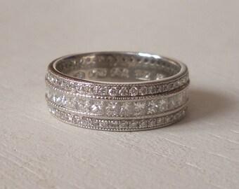 Wide Diamond Platinum Wedding Band - Engagement Ring - Eternity Band - Pave Diamond Band - Princess Cut Diamond