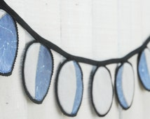 Moon Phases Wall Hanging, Organic Cotton and Felt Bunting, Moon Phases Banner - Navy, Made to Order