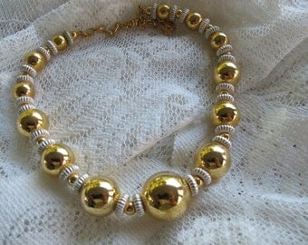 Gold and silver tone Vendome choker / Vintage chunky beaded necklace