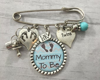 MOMMY To Be CORSAGE, Mommy of Twins Baby Shower Pin, Bottle, Pacifier, Footprints, Gender Reveal, Baby Shower Corsage, Blue Grey, Chevron