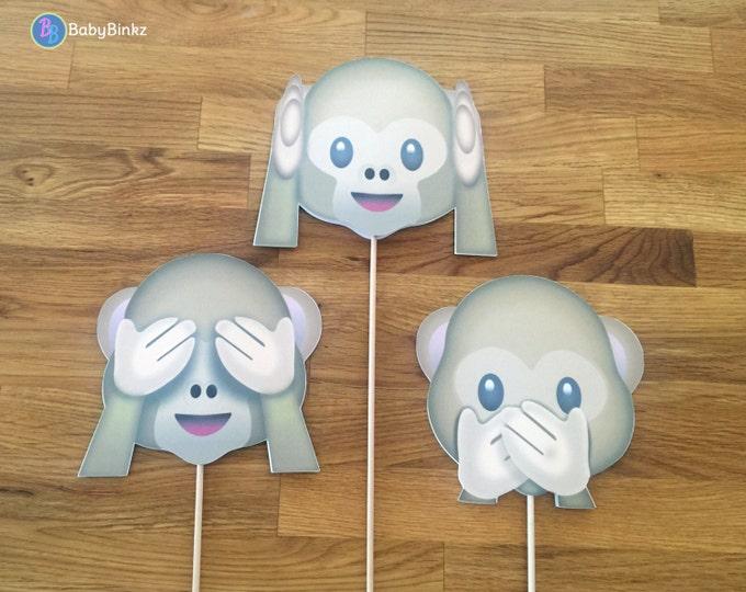 Photo Props: The Monkey Emoji Set (3 Pieces) - party wedding birthday see no evil hear speak social media iPhone app icon stick centerpiece