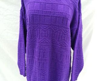 Oversized Womans Sweater 80's, Woman's Sweater, Purple 1980s Sweater, Large