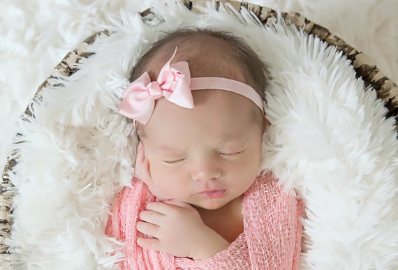 "When just a simple bow will do! Pretty pink or white ribbon bow on our soft stretch 3/8"" elastic AND/OR swaddle wrap by Lil Miss Sweet  Pea"