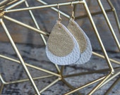 Gold and light gray leather earrings