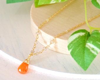 Carnelian Necklace, Orange stone Necklace, Natural Zircon Necklace, Orange gemstone Necklace, Minimum Jewelry, Minimalist, Layering Necklace