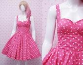READY STOCK Retro Polka Dot Pink Dress - Sweetheart Neckline Swing Dress - Tea Party Dress - Bridesmaid