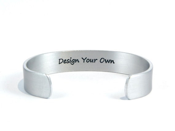 """Personalized cuff bracelet DESIGN YOUR OWN 1/2"""" with hidden / secret message for Awareness/ Mother / Daughter / Sister/ Best Friend Gift"""