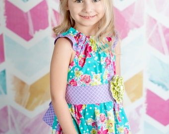 Easter Spring Summer Dress - Turquoise Polka Dot and Floral Peasant Flutter Sleeve