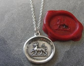 Wax Seal Necklace - Fierce - heraldic tiger - antique wax seal jewelry