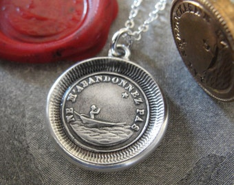 Wax Seal Necklace Do Not Leave Me - antique wax seal charm jewelry guided by North Star - Forsake Me Not by RQP Studio