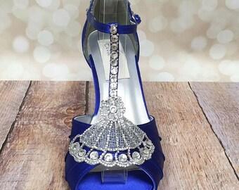 Blue Wedding Shoes, Blue Bridal Heels, Vintage Wedding, Bling Wedding Shoes, Unique Bridal Shoes, Something Blue, Vintage Bride