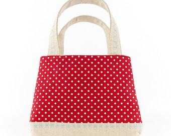 Cute Girls Tote Bag Childs Purse Polka Dot Bag Flower Girls Gift