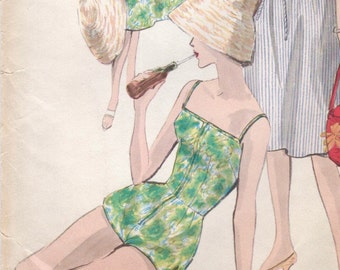 Vintage 1960s bathing suit & skirt pattern -- Vogue 9995