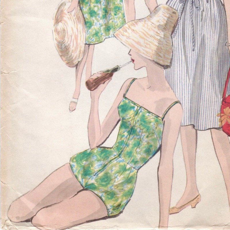 1960 bathing suit + skirt pattern Vogue 9995