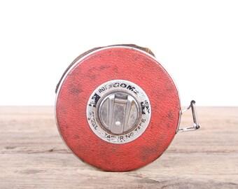 Vintage 100' Roe Comet Metal Tape Measure / Old Tape Measure / Antique Tools / Tool Decor / Steel Tape measure / Silver Metal Tape Measure