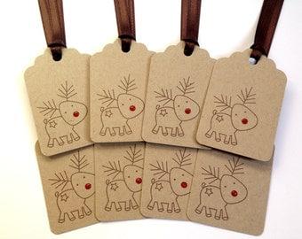 Reindeer Tags - Rudolph The Red Nosed Reindeer Tags - Christmas Tags - Deer Tags - Cute Christmas Package Tags - Season's Greetings Tags