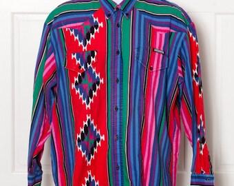 Vintage worn 80s 90s Cowboy Button Down Shirt - ROUGHRIDER - XL