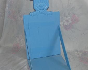 Vintage Disney Mickey Mouse Blue Bookshelf - Collapsible/Folding Light Blue Mickey Head Shelf - Lightweight Plastic