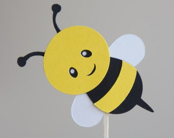 Set Of 12 Bumble Bee Cupcake Toppers Baby Shower Birthday Food Picks