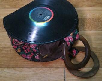Unique Handmade Vinyl Record Handbag with Wooden Handles, Upcycled Vinyl Record Bag, Vinyl Record Purse, Top Handle Vinyl Record Bag