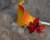 Calla lily, lily boutonniere, orange calla lily, yellow, orange autumn theme, boutonniere, button hole