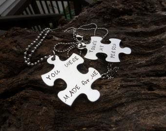 Your my Person, Matching Puzzle Pieces, You were made for me, His & Her Puzzle pieces, Personalized Puzzle Necklaces, Stainless steel,