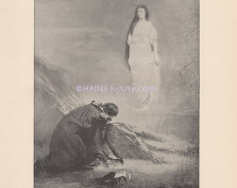Ancient Ghost Love Story-Astarte-1891 Old Antique Vintage TYPOGRAVURE Art Print-Beautiful Apparition Appears To Beloved-Haunting Spirit-LOVE