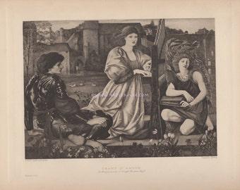 Medieval Romance-Love Song-Chant D'Amour-Lady-1890 Old Antique Vintage Art Print-Gothic Picture-Renaissance-Folk Ballad-Instrument-Music