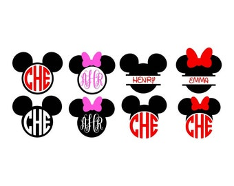 Minnie Mouse Monogram, Mickey Mouse Monogram, Minnie Svg, Mickey Svg, Minnie Svg File, Mickey Svg File, Cricut Cut files, Silhouette