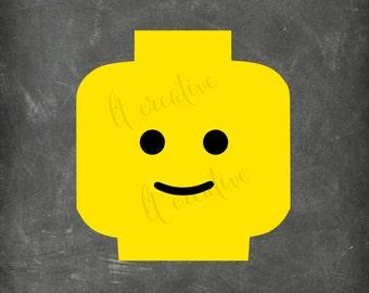 Lego Face SVG, Lego SVG, Lego Head Svg, Lego Face SVG, Svg Files, Minifig, Cricut Cut Files, Silhouette Files, Vinyl Files