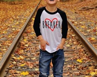 Valentine's Day Shirt for Boys Heart Breaker Raglan T-Shirt