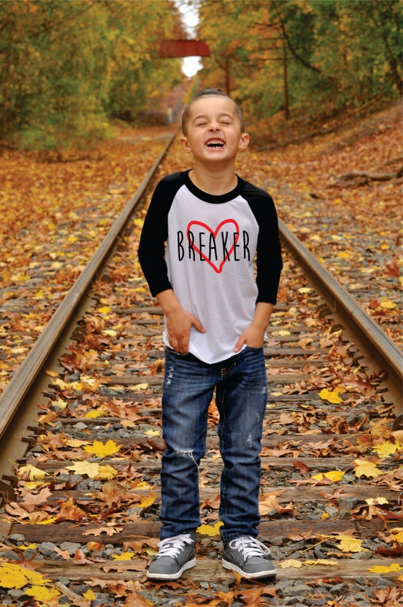 Valentine's Day Shirt for Boys Heart Breaker Raglan T-Shirt