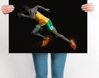 Usain Bolt Olympics Rio 2016 Pop Art Poster Print