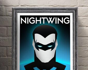 Marvel DC Comics Nightwing Art, Nightwing poster, Superhero, Superhero Print, ART PRINT illustration, The Avengers, Home Decor, Wall Art