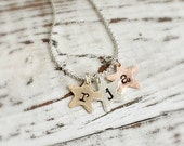 Personalized Necklace . Star Initial Charm Necklace . star charms . initial necklace. personalized jewelry . mother necklace . mommy jewelry