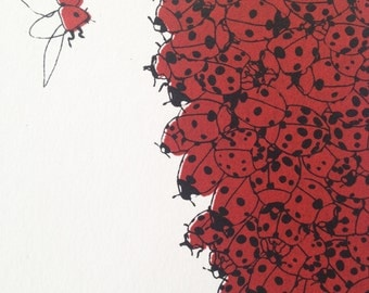 Nature illustration screen print // Pine cone of ladybugs // Silk screen // hand printed // NOW 25% OFF